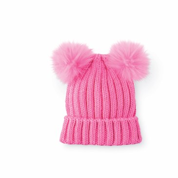 A hot pink beanie with cuff and two pink poms on top