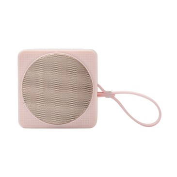 A pink speaker with wrist strap