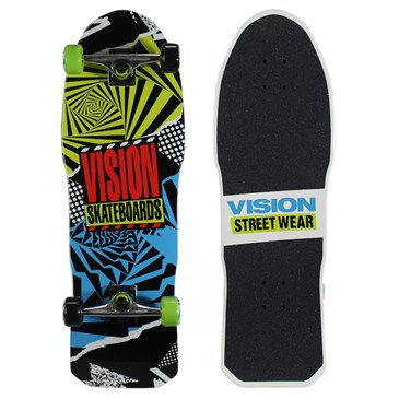 A black and neon blue and yellow skateboard