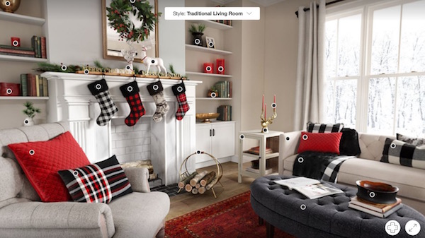 A 360-degree shot of a festively decorated living room, with a tag near the top that reads: Style: Traditional Living Room