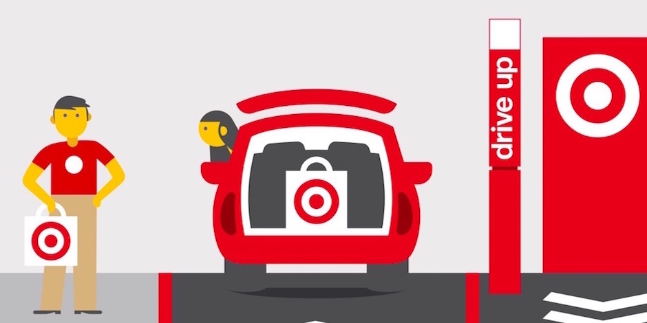 Graphic of a Target employee bringing a Drive Up order out to a guest's car