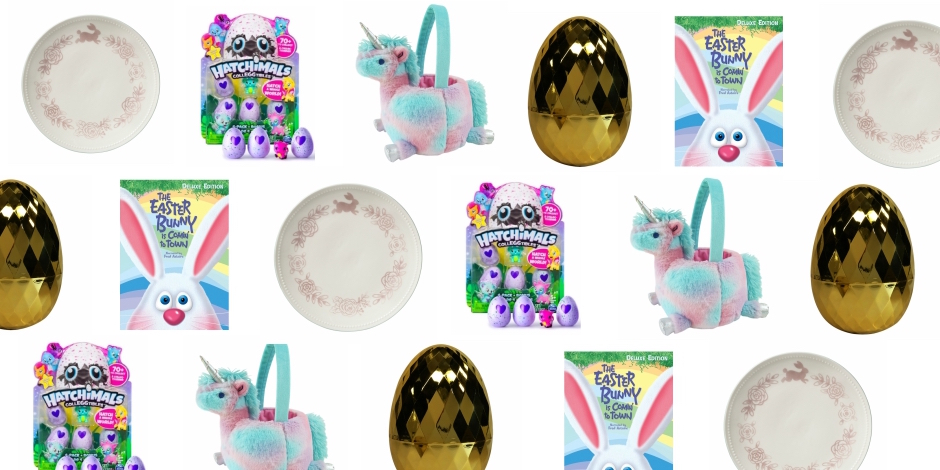 Collage of Easter decor items and Easter gifts