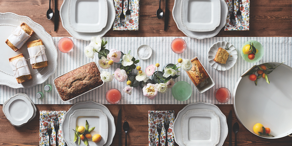 Tabletop with Hearth & Hand with Magnolia dishes, napkins, flatware and more