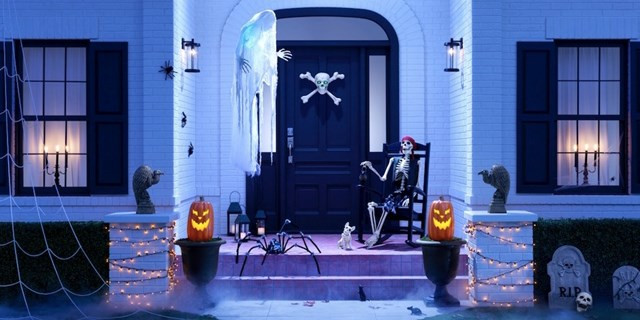 Exterior of a house decorated for halloween