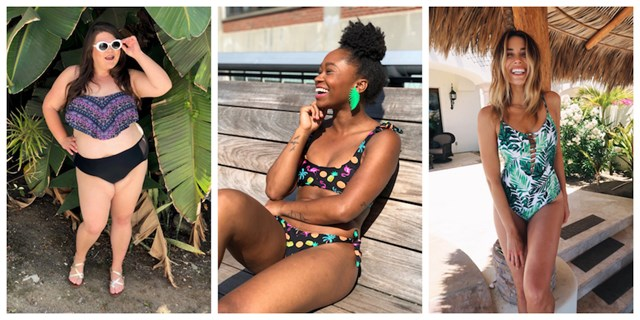 Image collage of three influencers wearing Target swimsuits