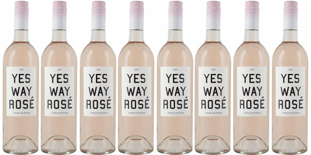 Collage of Yes Way Rose wine bottles