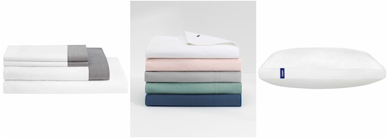 Product collage of two Casper sheet sets and the Casper pillow