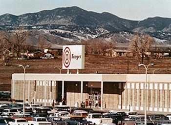 archive photo of original Colorado Target store with old bullseye logo and mountains in background