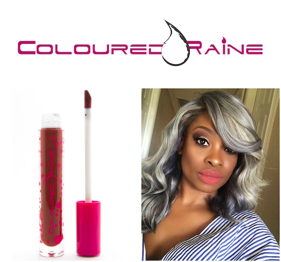 Coloured Raine logo, lip product and CEO