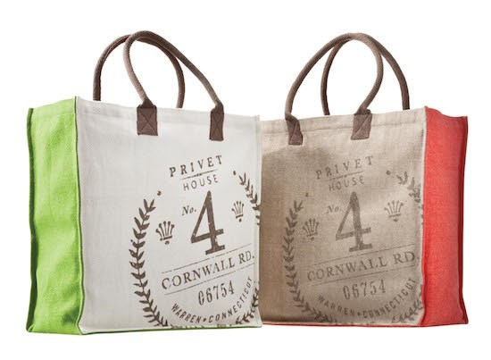 two burlap bags with Privet House 4 Cornwall Rd. labels