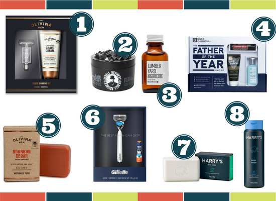 Collage of men's grooming products