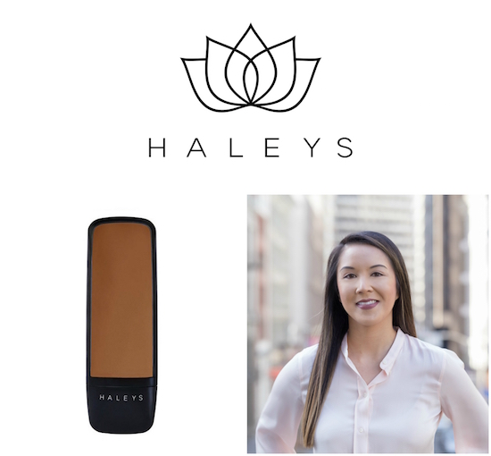 HALEYS Beauty logo, product and founder