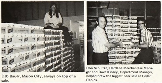 archival photo collage of team members with pallets of beer in 1970s