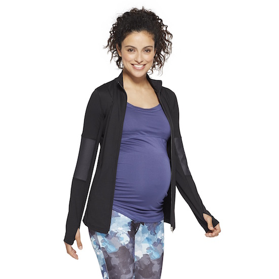 Mom-to-be wearing Isabel Maternity active jacket