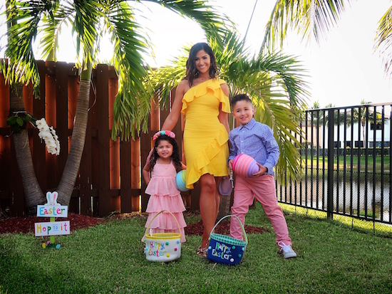 Family in Easter outfits