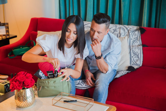Karla and Jorge creating a toiletry kit gift