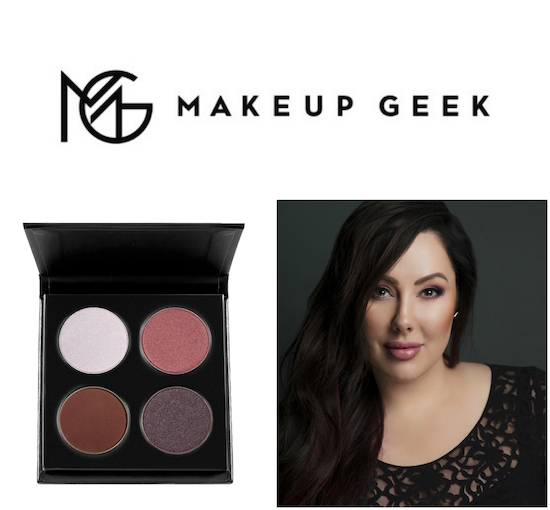 Makeup Geek logo, eyeshadow quad and founder