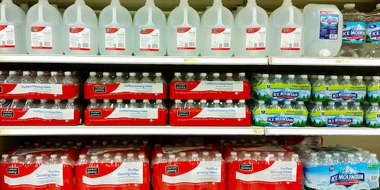 Water bottles on Target store shelves