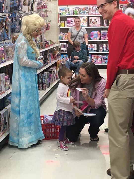 Emery at her Frozen-themed party at Target