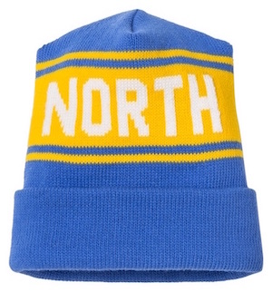 Blue and yellow North beanie