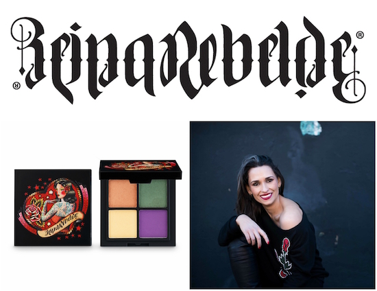 Reina Rebelde logo, eyeshadow quad and founder