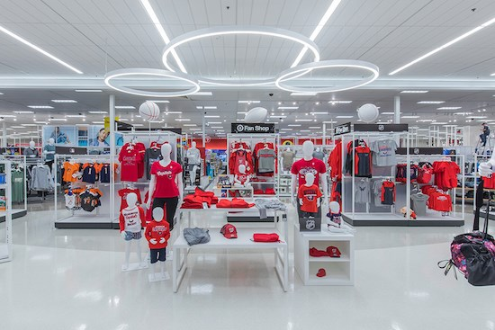 Fan Central section of store displaying variety of Capital's team gear and clothing