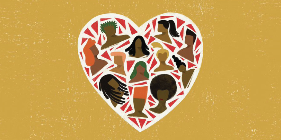 A heart contains a variety of painted faces, celebrating Black History Month