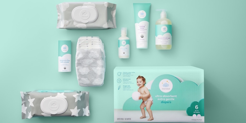 A variety of Cloud Island baby essentials against a mint background