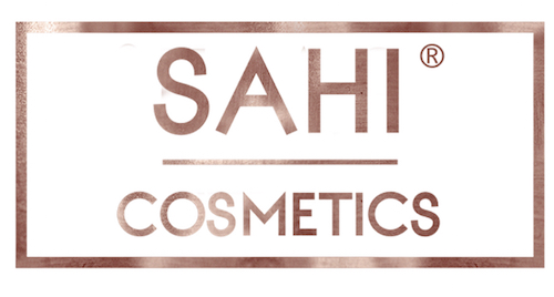 The SAHI Cosmetics logo in rose gold text against a white background