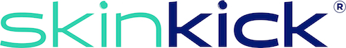 The SkinKick logo in green and blue text against a white background