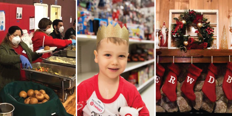 Volunteers serve food; a boy in a crown in a Target aisle; red stockings hanging on a mantle