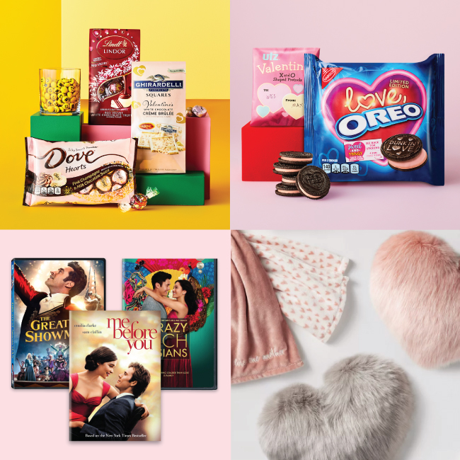 A four-image collage featuring Valentine's treats, movies and cozy throws and pillows