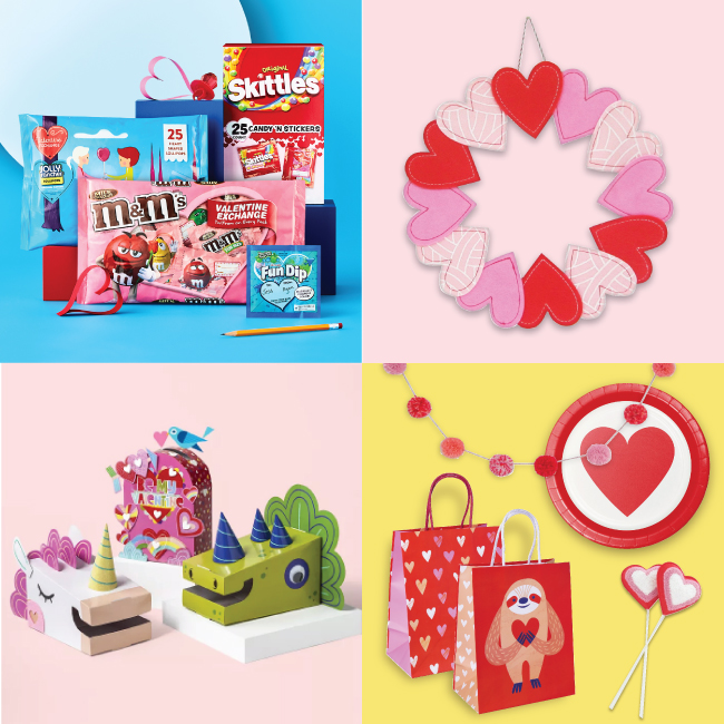 A four-image collage featuring classroom Valentines and card boxes, a heart wreath and disposable dinnerware and gift bags