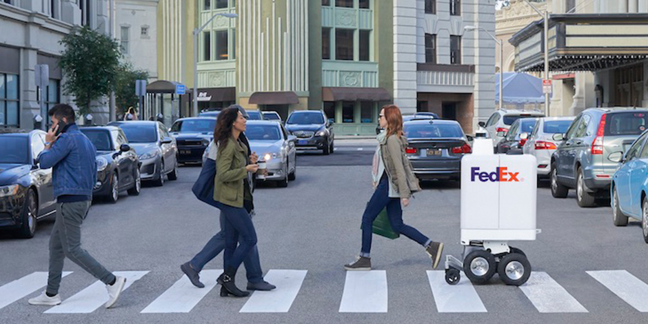 FedEx's SameDay Bot in a crosswalk with four people and cars in the background