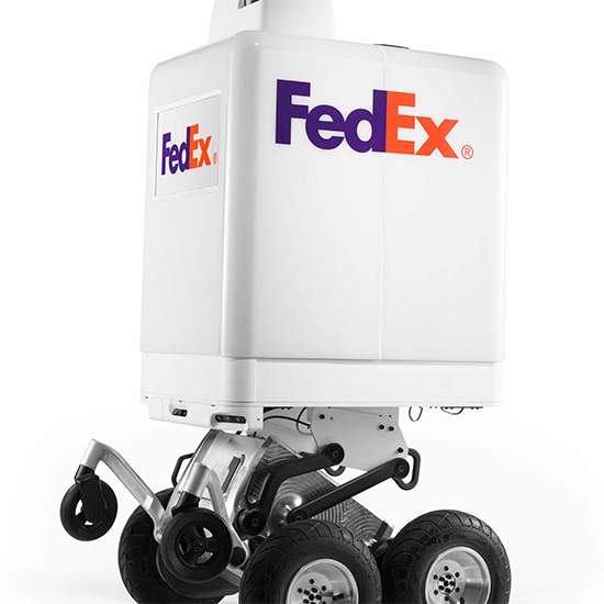 A white robot with the FedEx logo