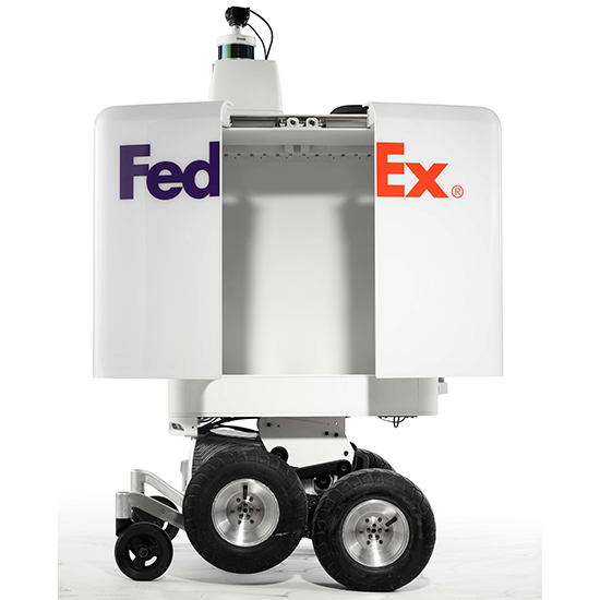 A white robot with the FedEx logo, doors open
