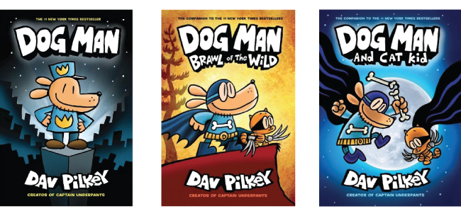 Three Dog Man books: Dog Man, Brawl of the Wild, and Cat Kid