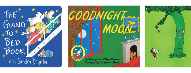 Three books: The Going to Bed Book, Goodnight Moon and The Giving Tree