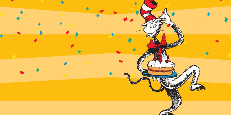 The Cat in the Hat holds a cake against a festive background