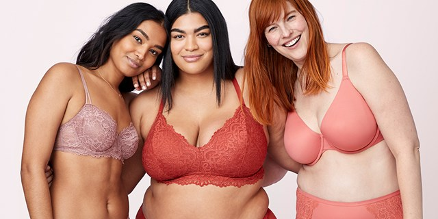 Three women model new Auden bras