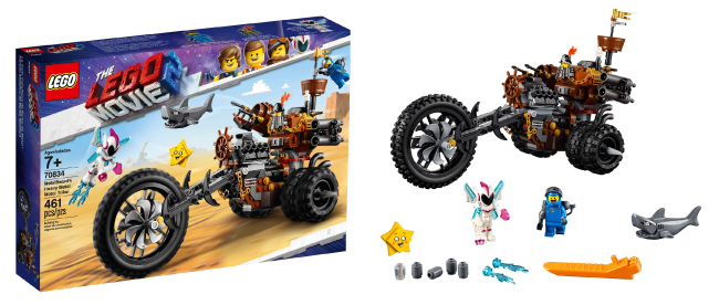 A LEGO Movie 2 playset showing the package, assembled vehicle with figures and accessories