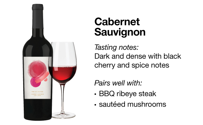 A bottle of Cabernet Sauvignon next to a wine glass with red wine