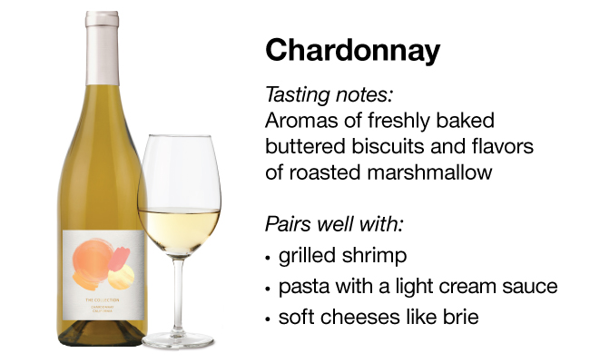 A bottle of Chardonnay next to a glass of white wine