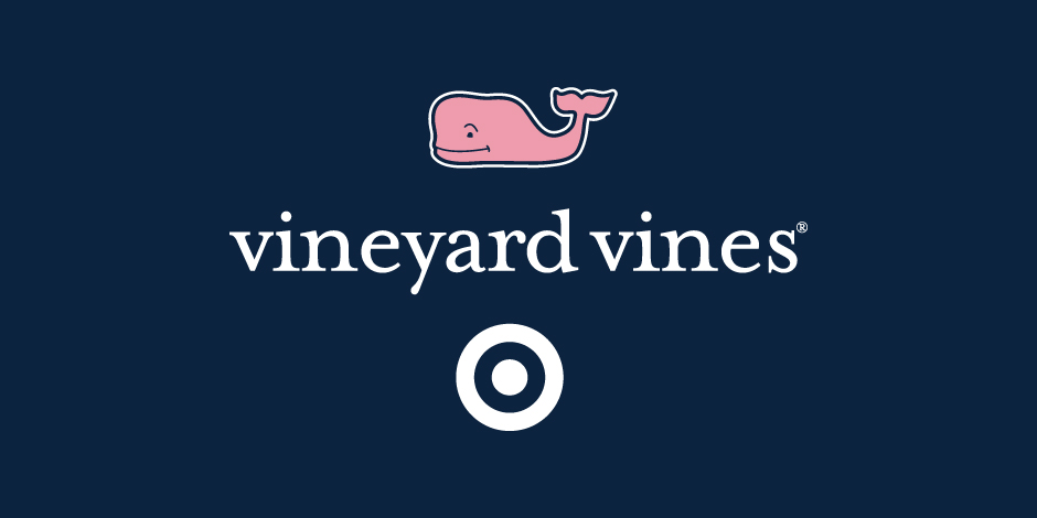 navy blue background with pink whale (vineyard vines logo) and white bullseye (Target logo)