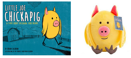 "On the left, the book cover of ""Little Joe Chickapig,"" with blue background, yellow character and white text. At right, a yellow plush Chickapig toy with hang tag."