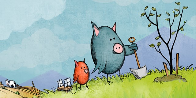Two chickapigs stand on a hill with a shovel and toy looking at a tree, with a cow in the background