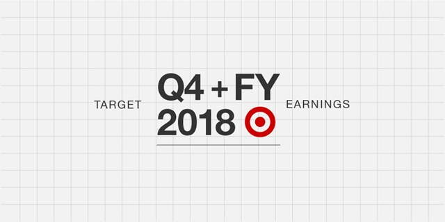 Red bullseye logo and black text against gray background with text Target Q4 + FY 2018 earnings