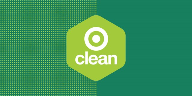 "A white bullseye logo with the word ""clean is shown on a green background"