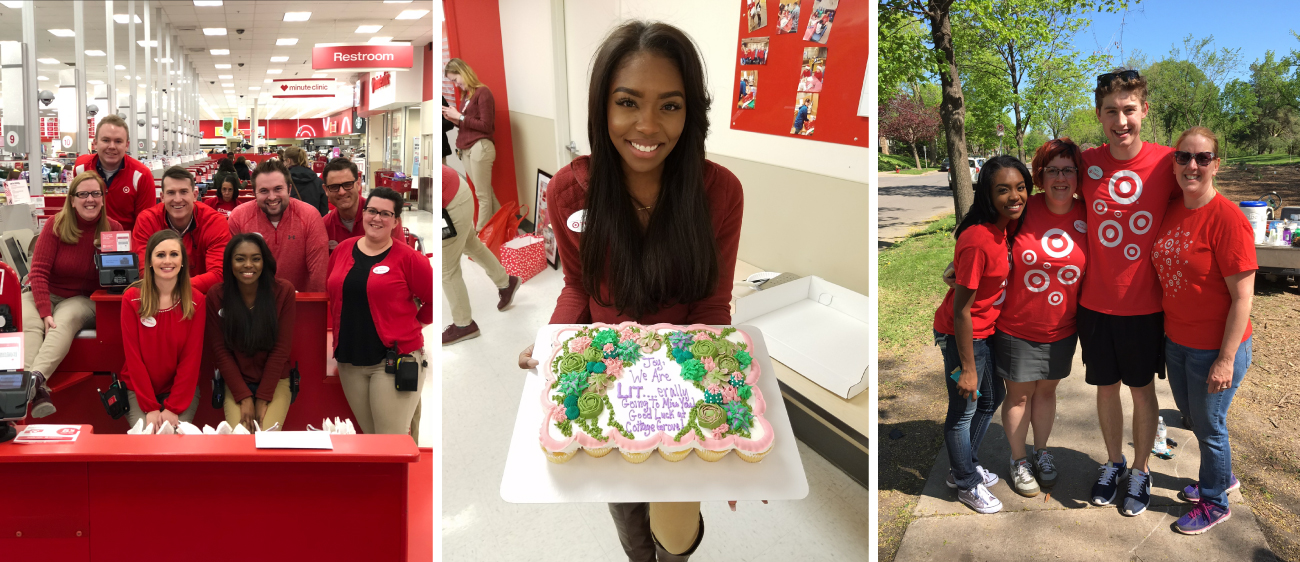 Joylin poses with her team, a cake and peers at a volunteer event
