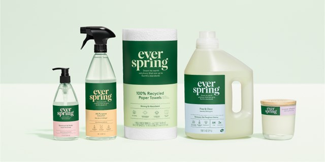 Five Everspring products, from soap and cleaners to paper towels